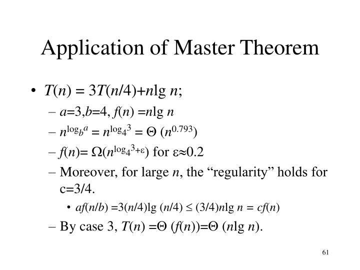 Application of Master Theorem