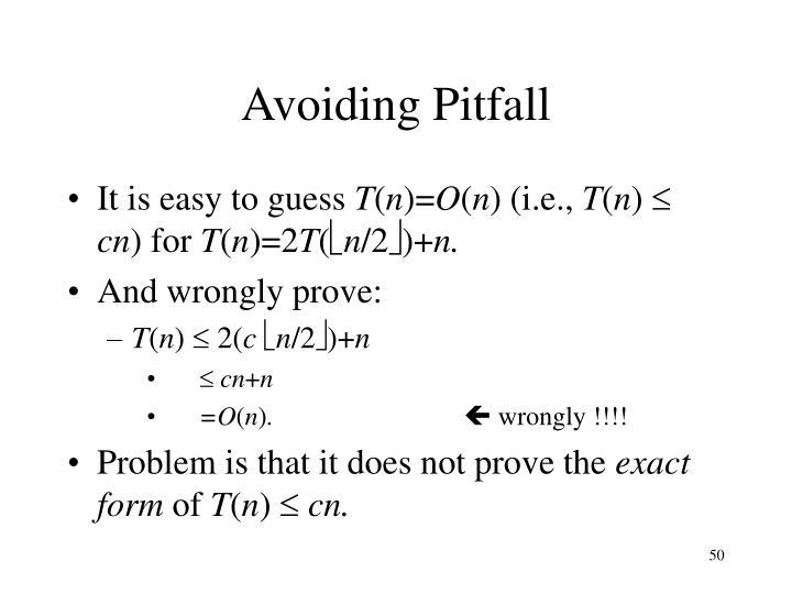 Avoiding Pitfall