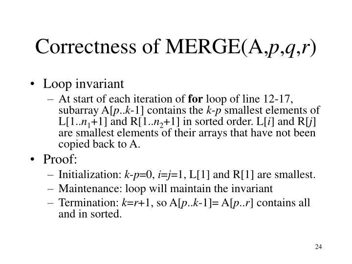 Correctness of MERGE(A,