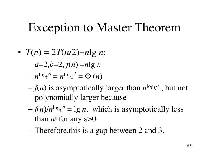 Exception to Master Theorem