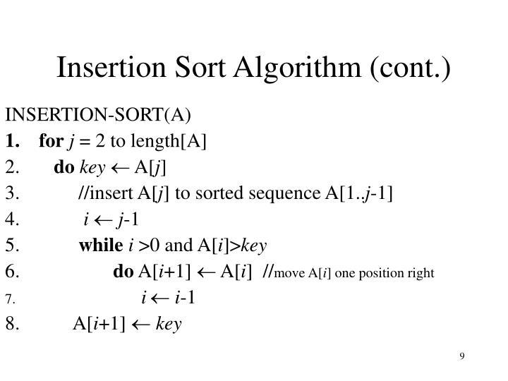 Insertion Sort Algorithm (cont.)