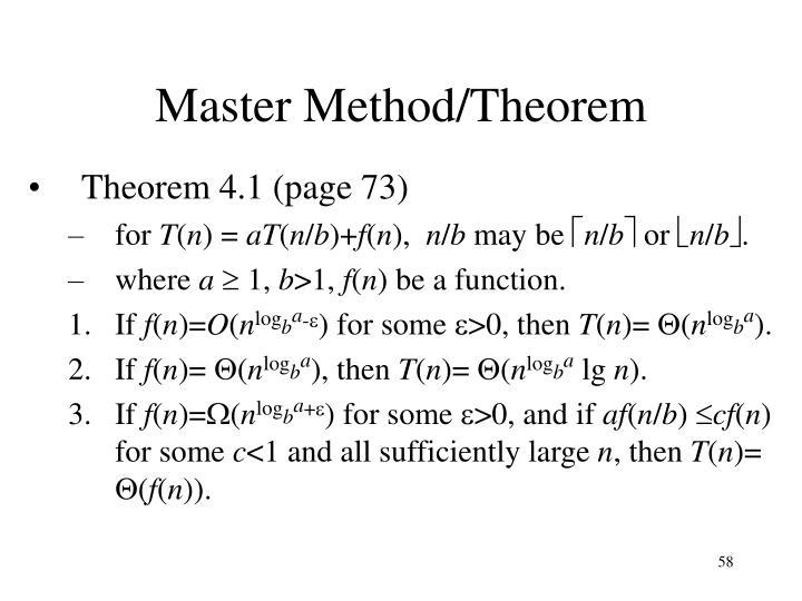 Master Method/Theorem