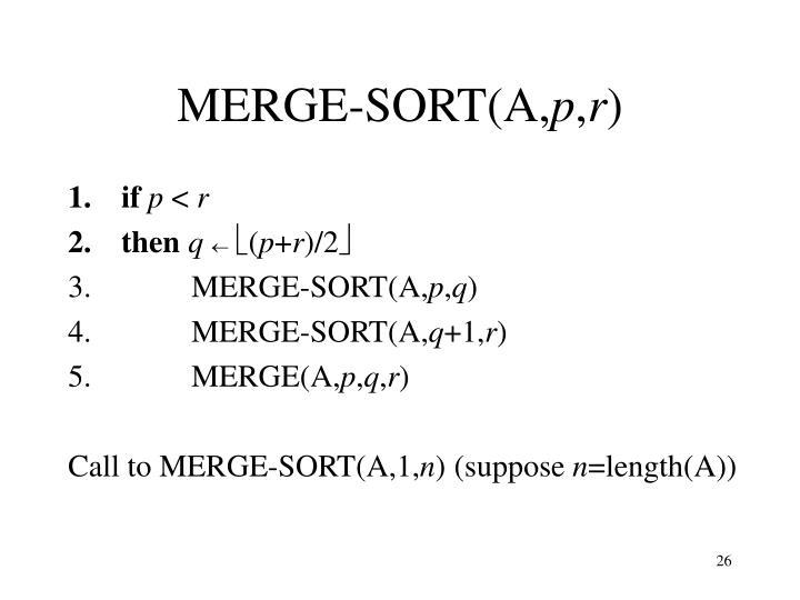 MERGE-SORT(A,