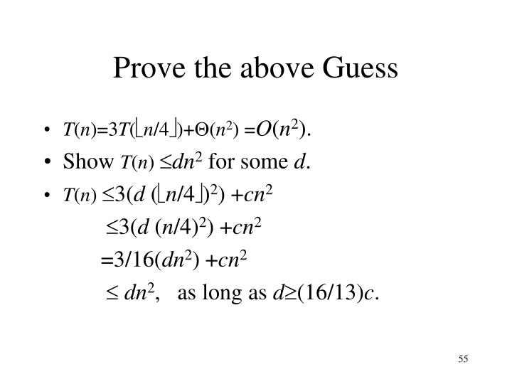 Prove the above Guess