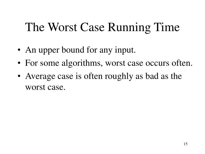 The Worst Case Running Time