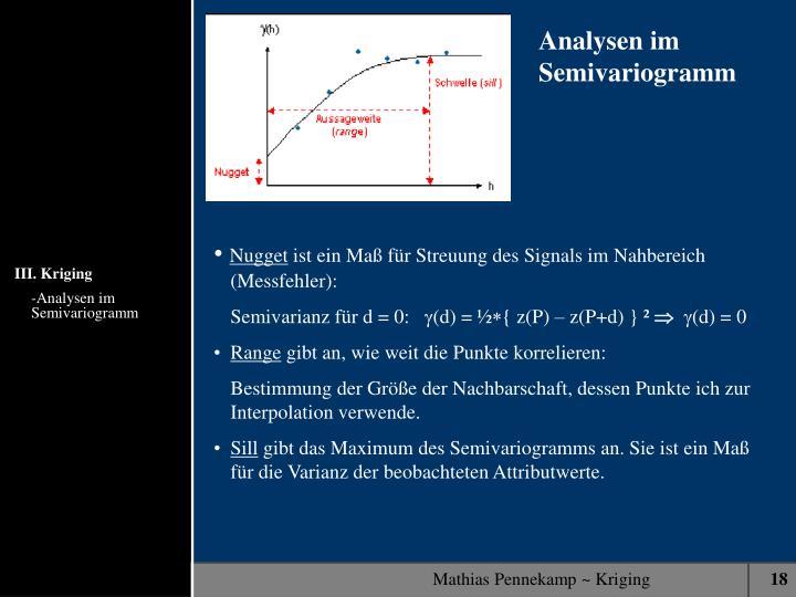 Analysen im Semivariogramm