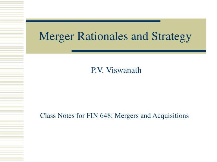 merger rationales and strategy n.