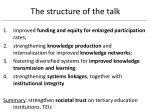 the structure of the talk