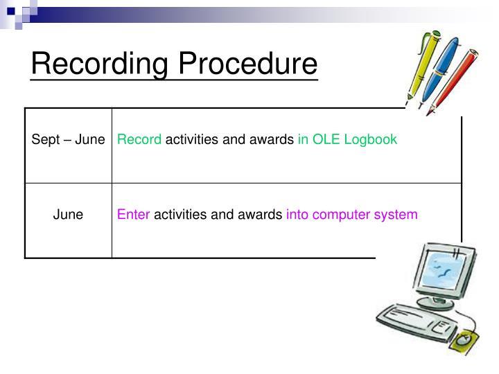 Recording Procedure