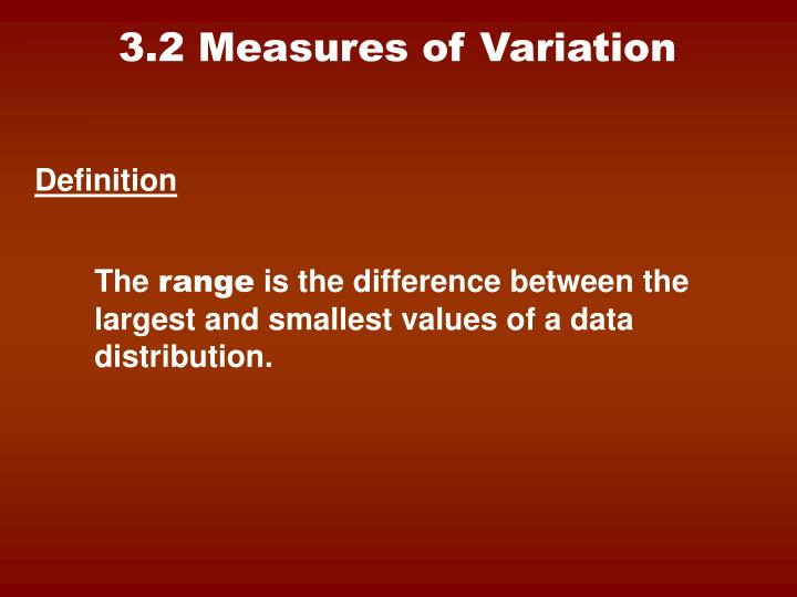 3.2 Measures of Variation