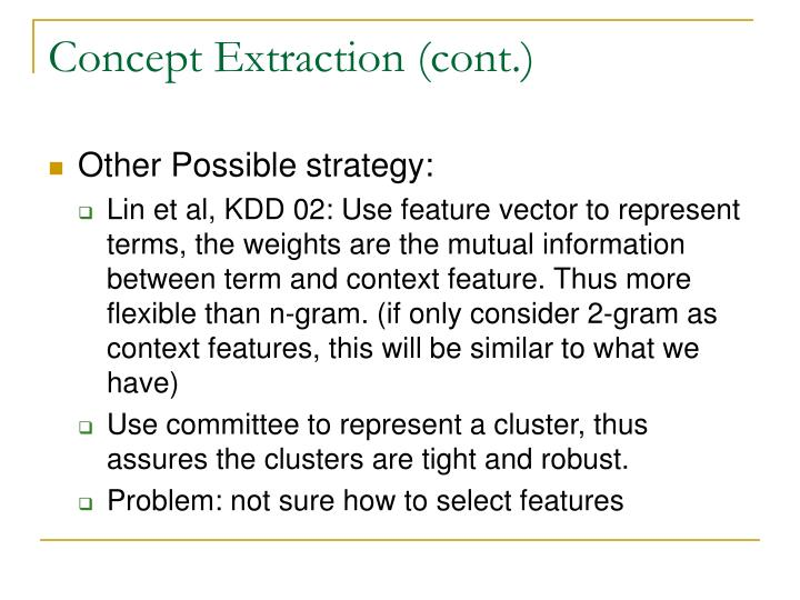 Concept Extraction (cont.)