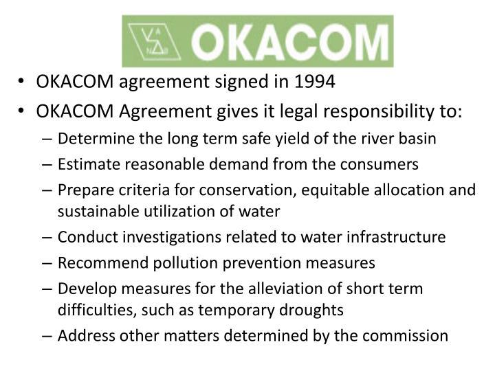 OKACOM agreement signed in 1994