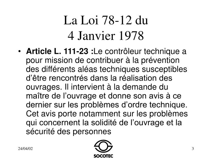 La loi 78 12 du 4 janvier 1978