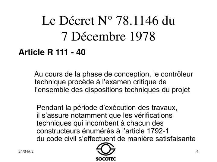 Le Décret N° 78.1146 du