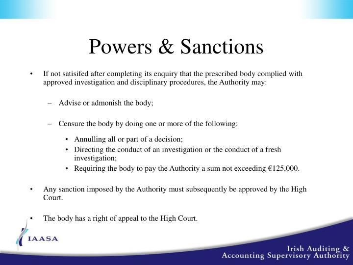 Powers & Sanctions