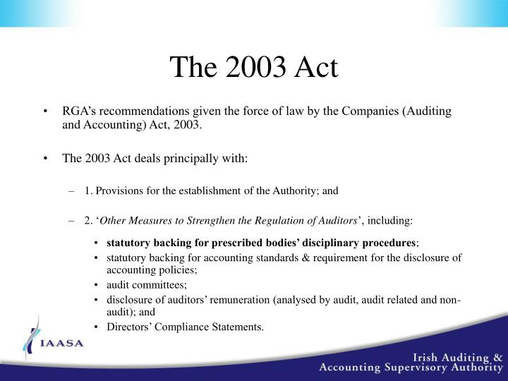 The 2003 Act
