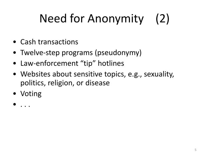 Need for Anonymity    (2)