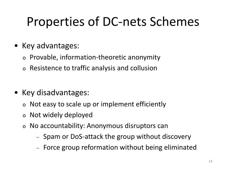 Properties of DC-nets Schemes