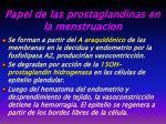 papel de la s prostaglandinas en la menstruacion