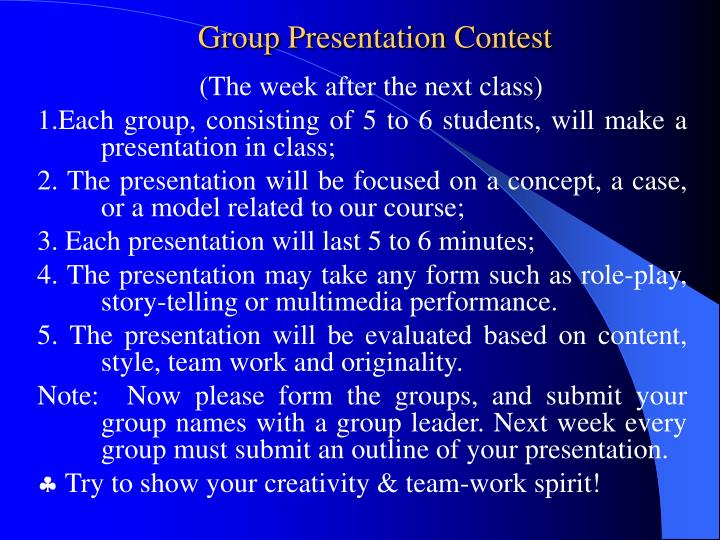 Group Presentation Contest
