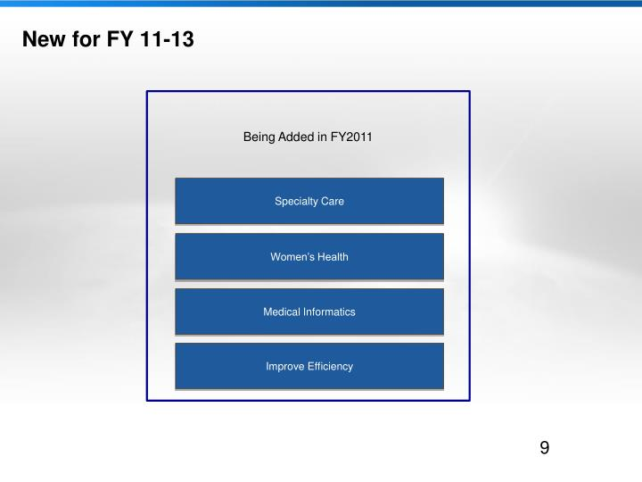 New for FY 11-13