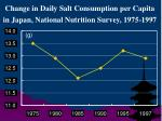 change in daily salt consumption per capita in japan national nutrition survey 1975 1997