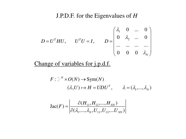 J.P.D.F. for the Eigenvalues of