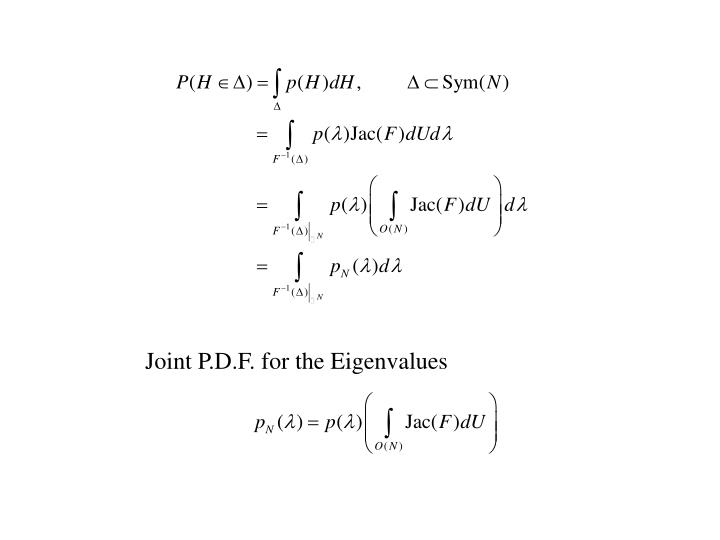 Joint P.D.F. for the Eigenvalues
