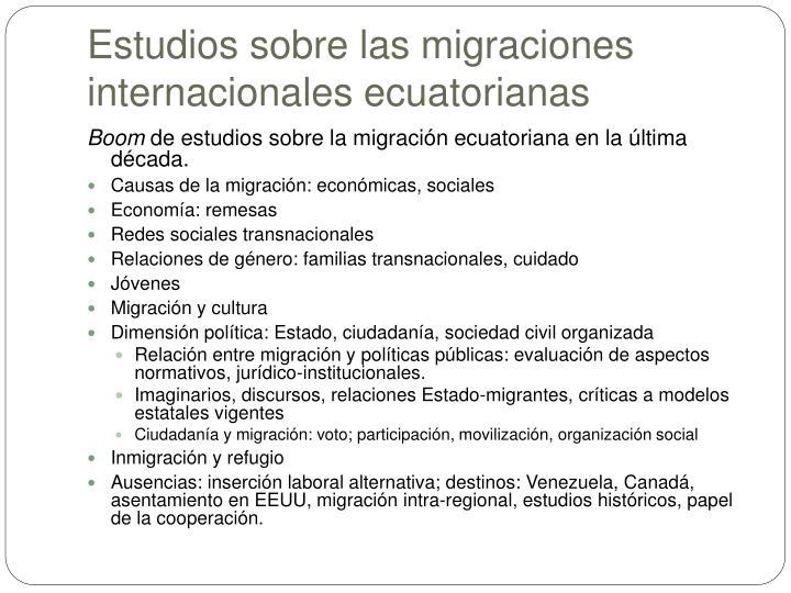 Estudios sobre las migraciones internacionales ecuatorianas