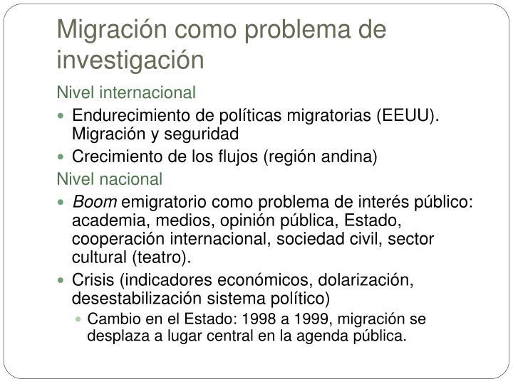 Migración como problema de investigación