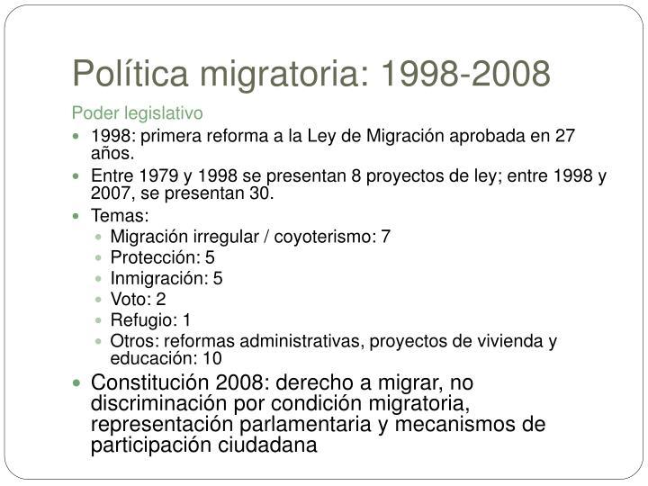 Política migratoria: 1998-2008