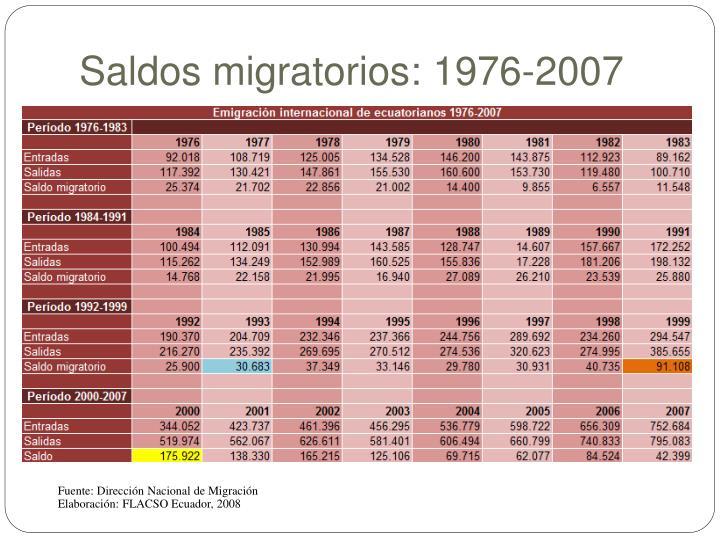 Saldos migratorios: 1976-2007