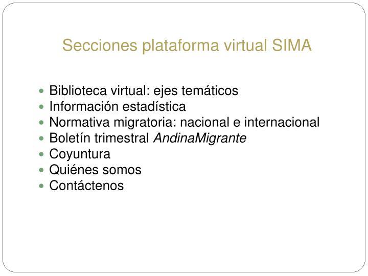 Secciones plataforma virtual SIMA