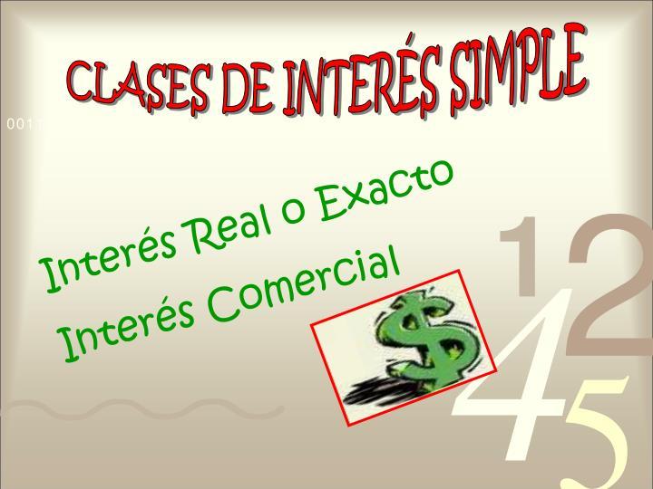 CLASES DE INTERÉS SIMPLE