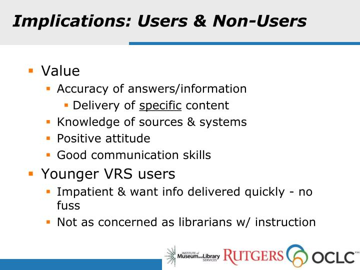 Implications: Users & Non-Users
