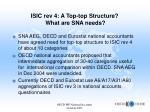 isic rev 4 a top top structure what are sna needs