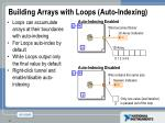 building arrays with loops auto indexing