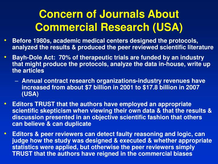 Concern of Journals About Commercial Research (USA)