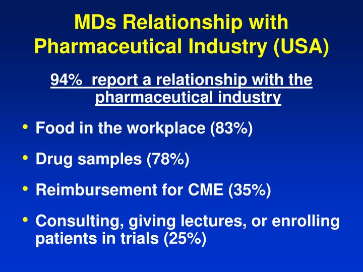 MDs Relationship with Pharmaceutical Industry (USA)