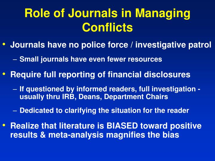 Role of Journals in Managing Conflicts