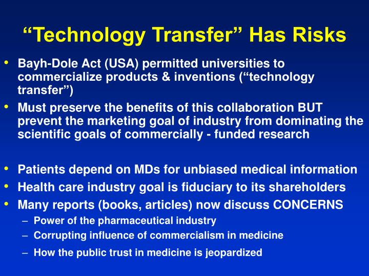 """Technology Transfer"" Has Risks"
