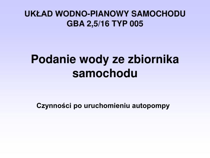 UKŁAD WODNO-PIANOWY SAMOCHODU