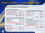 sources of policy leadership summit