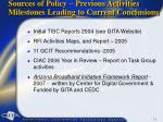 sources of policy previous activities milestones leading to current conclusions