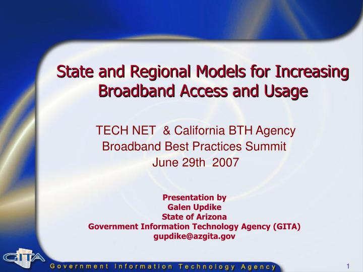state and regional models for increasing broadband access and usage n.