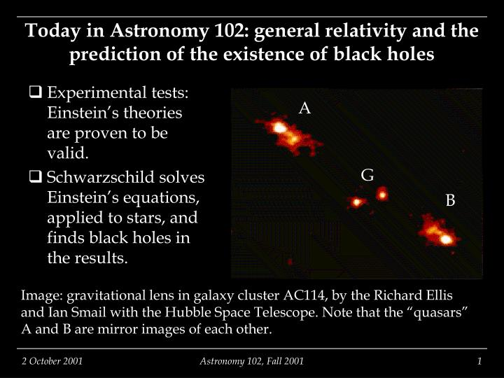Today in astronomy 102 general relativity and the prediction of the existence of black holes