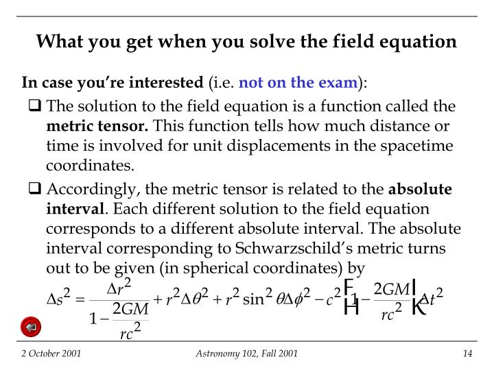 What you get when you solve the field equation