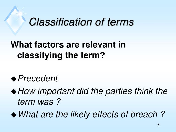 Classification of terms