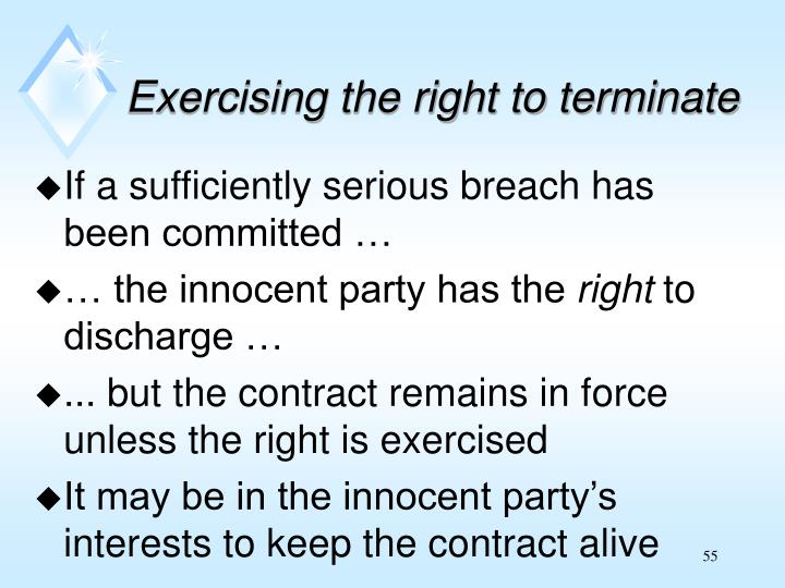 Exercising the right to terminate