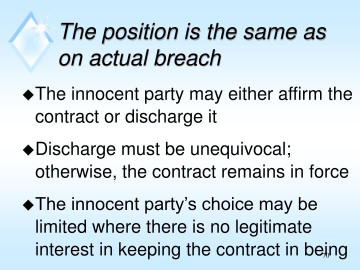 The position is the same as on actual breach